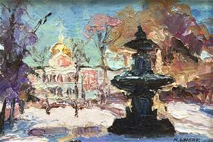 NANCY WHORF 19302012 State House Fountain Oil on