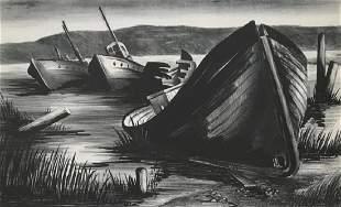 JULIA ROGERS 20th c Ships Graveyard Lithograph