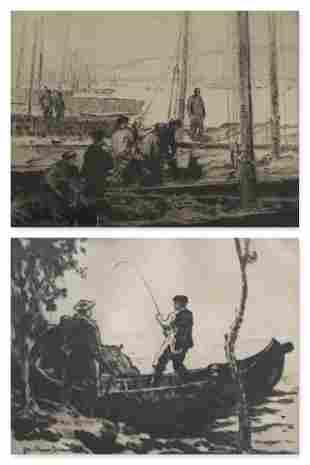 GEORGE ELMER BROWNE 18711946 Lot of 2 Etchings