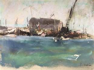 RAY NOLIN 1954592015 Wharf With Crane Pastel on
