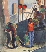 GERRIT BENEKER (1882-1934), Unloading the Ship,