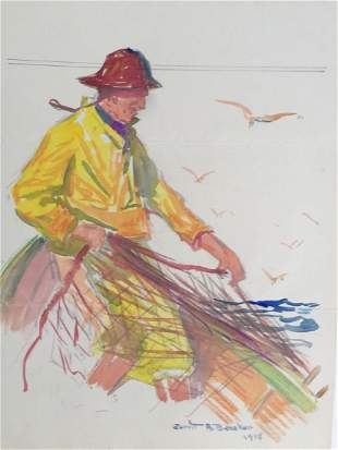 GERRIT BENEKER 18821934 Fisherman Watercolor