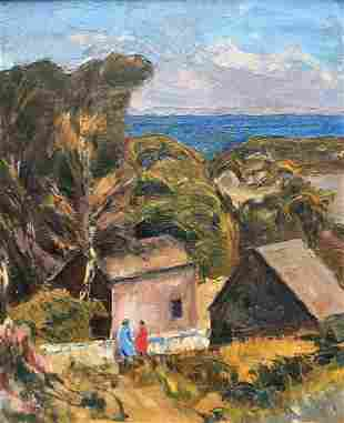 HEINRICH PFEIFFER 18741960 By A Sea Town Oil on