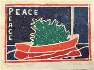 RUTH HOGAN 1943 Christmas 1985 Linocut