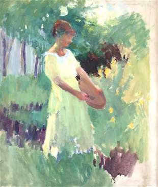 MARION HAWTHORNE 18701945 Woman in Garden Oil on