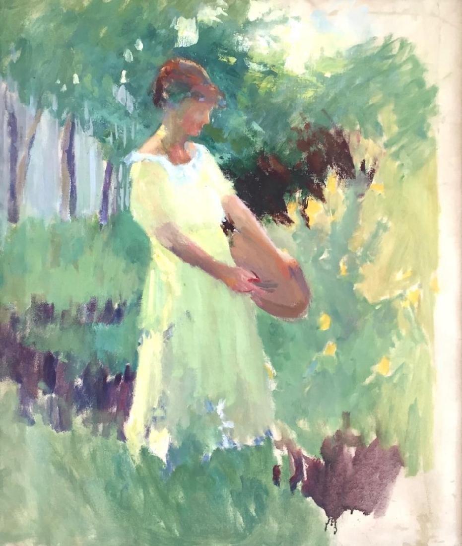 MARION HAWTHORNE (1870-1945), Woman in Garden, Oil on