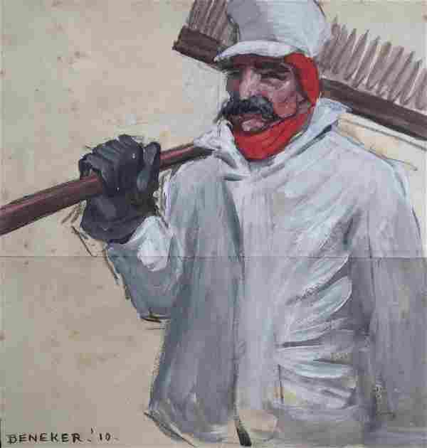 GERRIT BENEKER (1882-1934), Railroad Sweeper (Ambition