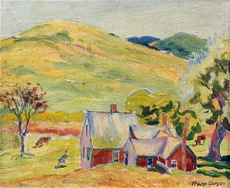 FRANK CARSON (1881-1968) Red Farm House-Truro, Oil on