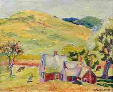 FRANK CARSON (1881-1968) Red Farm House-Truro, Oil on