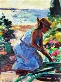 NANCY WHORF (1930-2009) Woman in Garden, Oil on panel