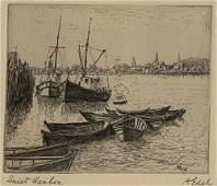ALBERT EDEL (1894-1970) Quiet Harbor, Etching