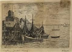 ALBERT EDEL (1894-1970) Captain Jack's Wharf, Etching