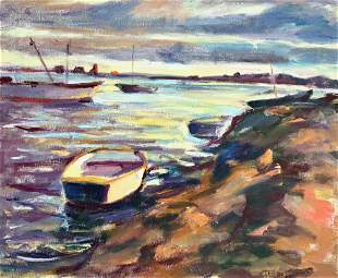 CONSTANCE BLACK 1929 Evening on the Shore Oil on