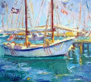 JOHN CLAYTON 1961 Schooner double sided Oil on