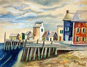 SAMUEL HUBER (1900-1973) Captain Jack's Wharf,