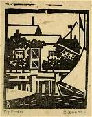 BLANCHE LAZZELL (1878-1956) My Studio, Woodblock print