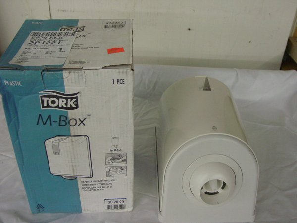 127: LOT OF 2 TORK M-BOX DISPENSERS FOR HAND TOWEL ROLL