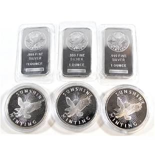 Lot of Sunshine Fine Silver Bars Rounds Tax Exempt