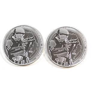 Pair of 2018 Niue 2 Stormtrooper 1oz 999 Silver