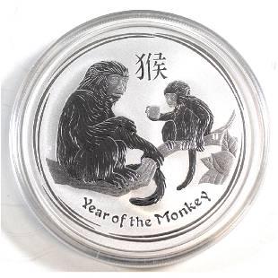 2016 Australia 2 Year of the Monkey 2oz Fine Silver