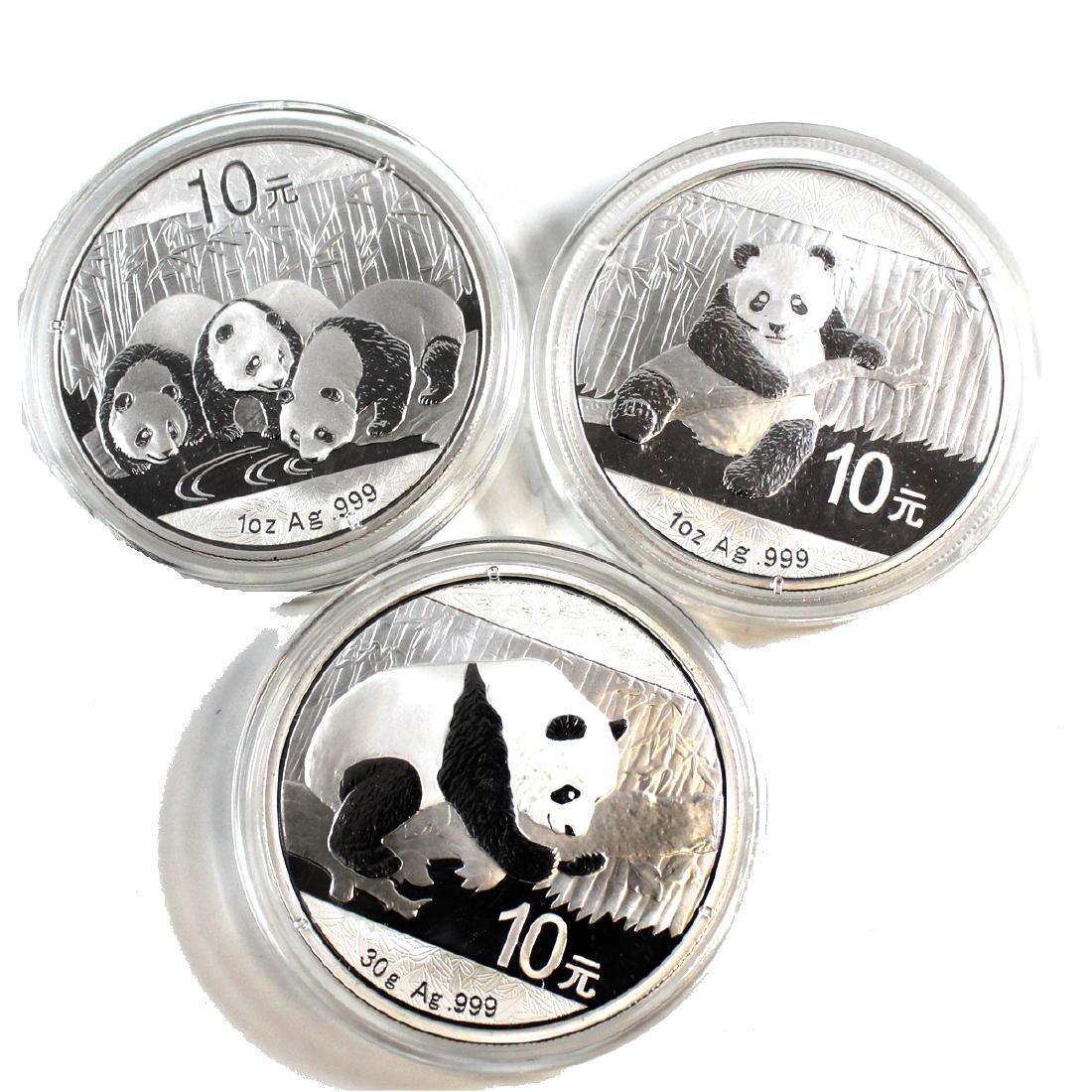 Lot of China Pandas Fine Silver - 2013 1oz, 2014 1oz, &