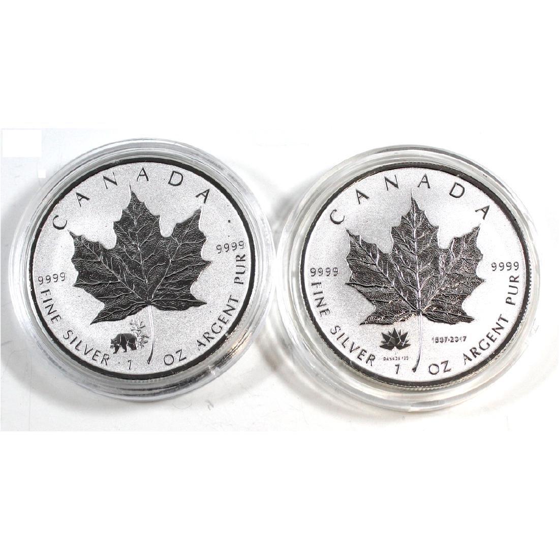 Pair of 2017 Canada $5 1oz. .999 Fine Silver Maple