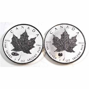 Pair of 2016 Canada 5 Privy Silver Maple Leafs Tax
