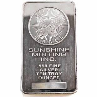 Sunshine Minting Inc 10oz Fine Silver Bar TAX