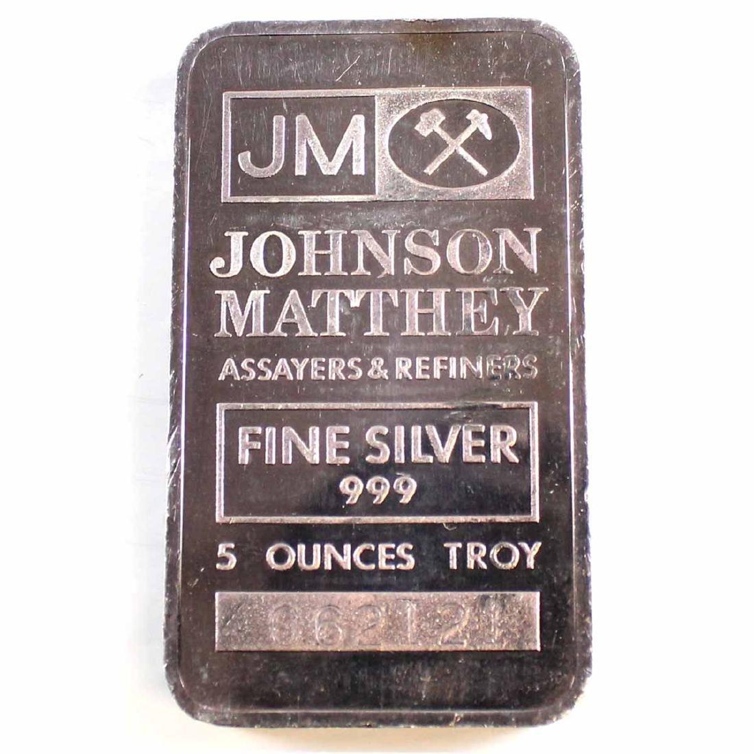 Vintage Johnson Matthey USA 5oz Fine Silver Bar with JM
