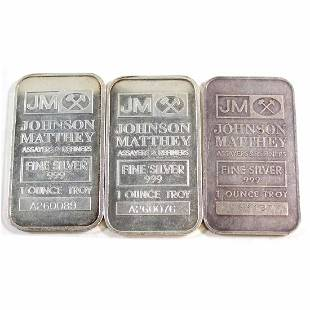 Lot of Vintage Johnson Matthey 1oz Fine Silver Bars JM