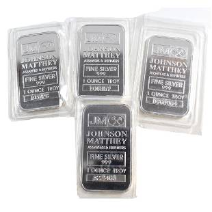 Lot of Johnson Matthey 1oz Fine Silver Bars B Series