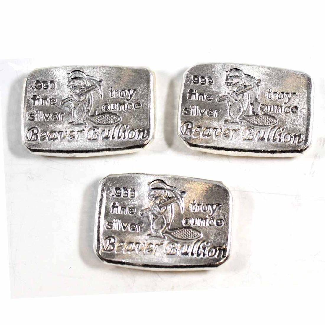 Lot of Beaver Bullion 1oz Fine Silver Bars (TAX