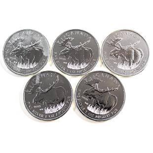 Lot of 2012 Canada 5 Wildlife Moose 1oz Silver