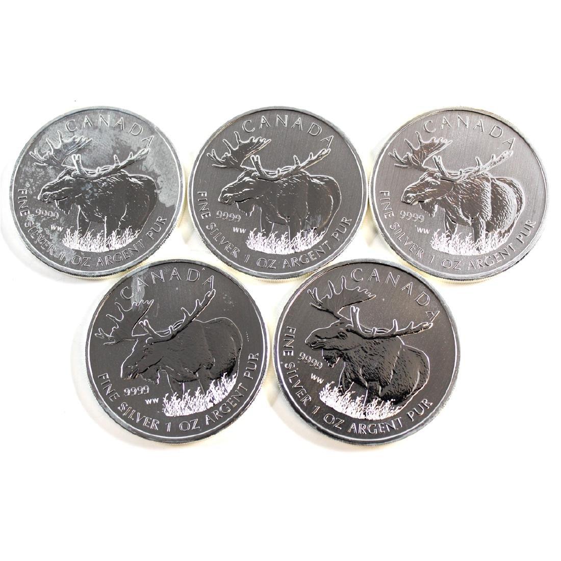 Lot of 2012 Canada $5 Wildlife - Moose 1oz Silver