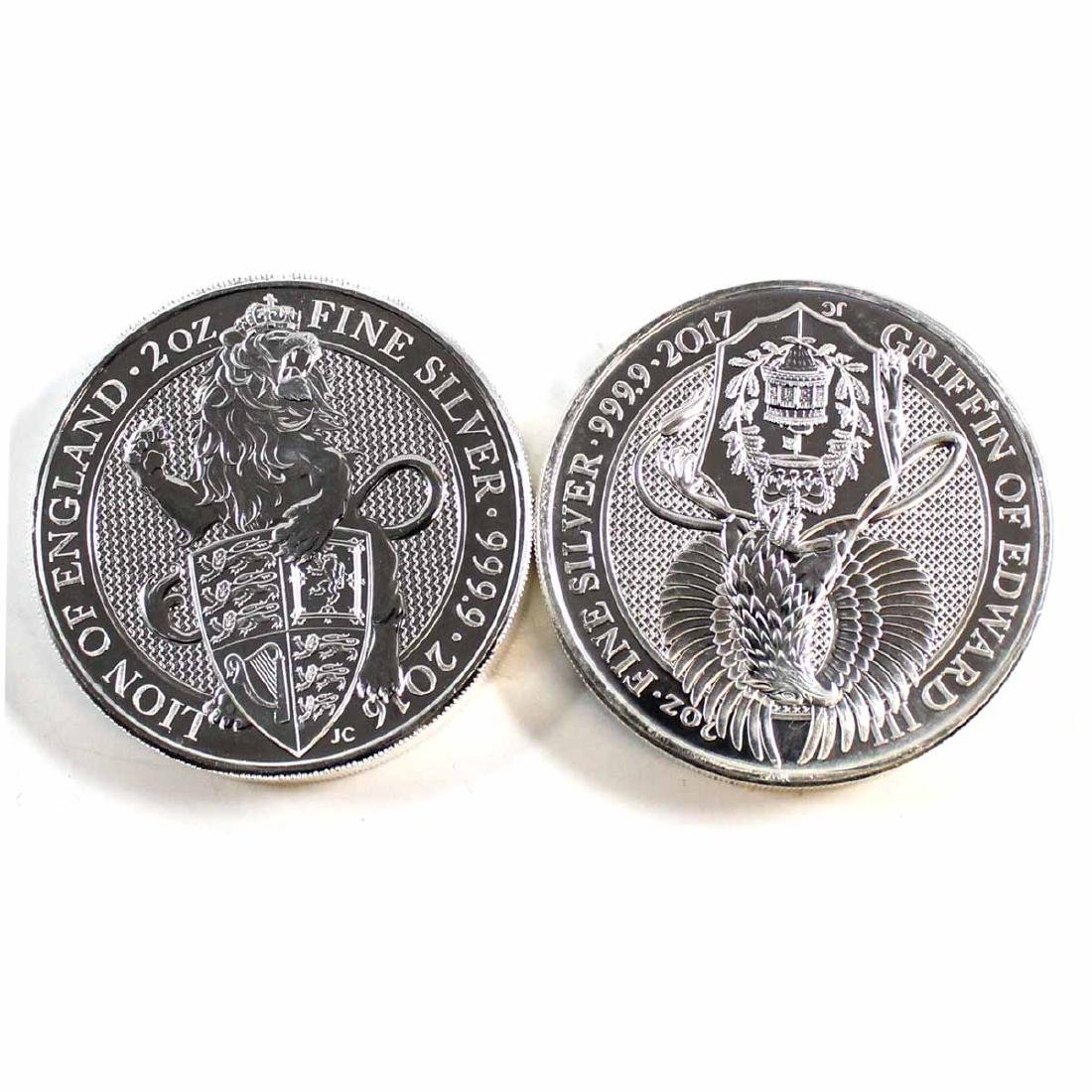 Pair of 2016-2017 Great Britain 2oz Queen's Beasts Fine
