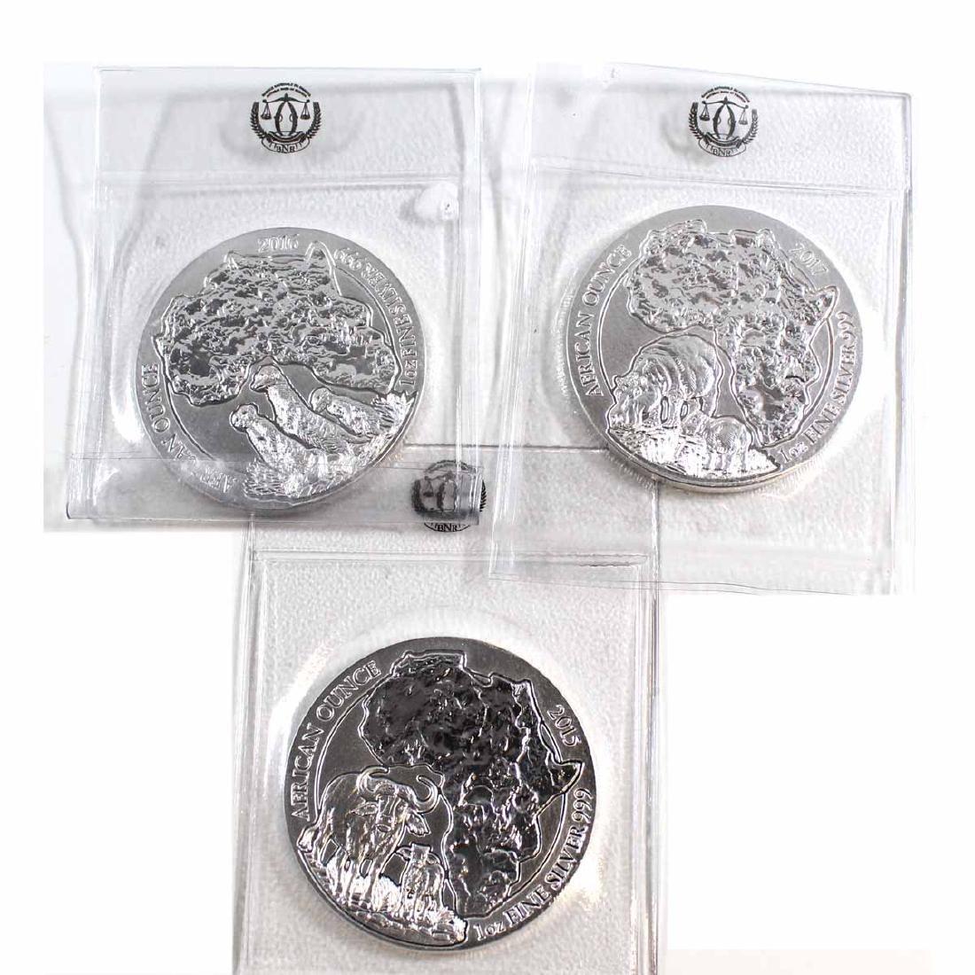 2015-2017 Rwanda 1oz Fine Silver Coins (TAX Exempt).