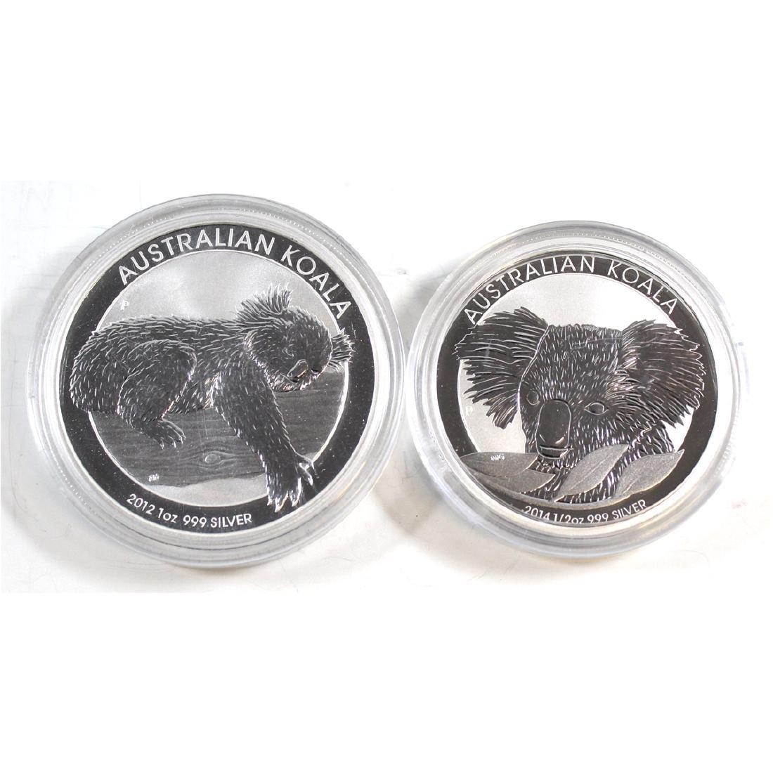 2012 Australia 1oz Fine Silver Koala & 2014 Australia