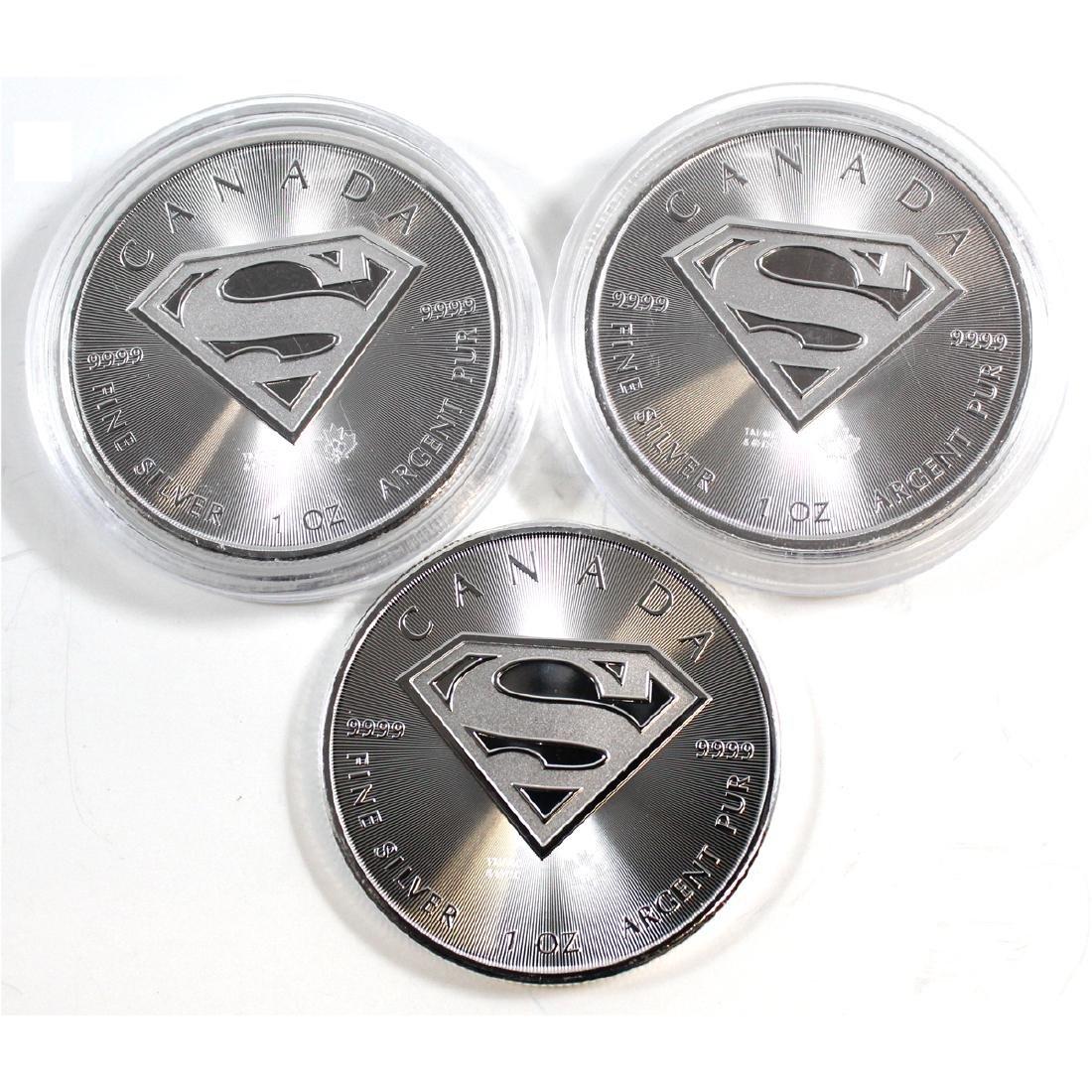Lot of 2016 Canada $5 Superman Shield 1oz Fine Silver