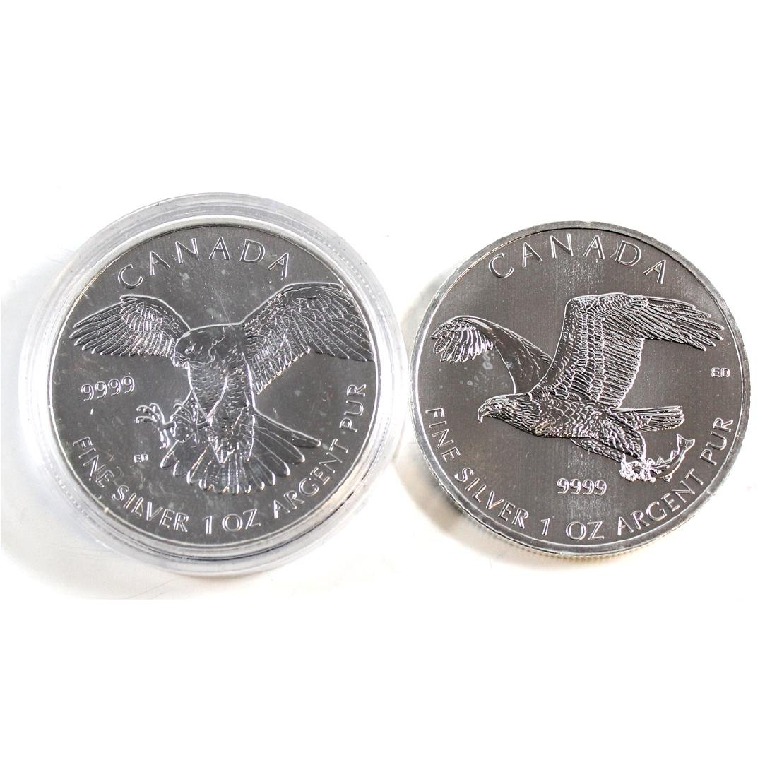 2014 Bald Eagle & 2014 Peregrine Falcon Canada $5 1oz