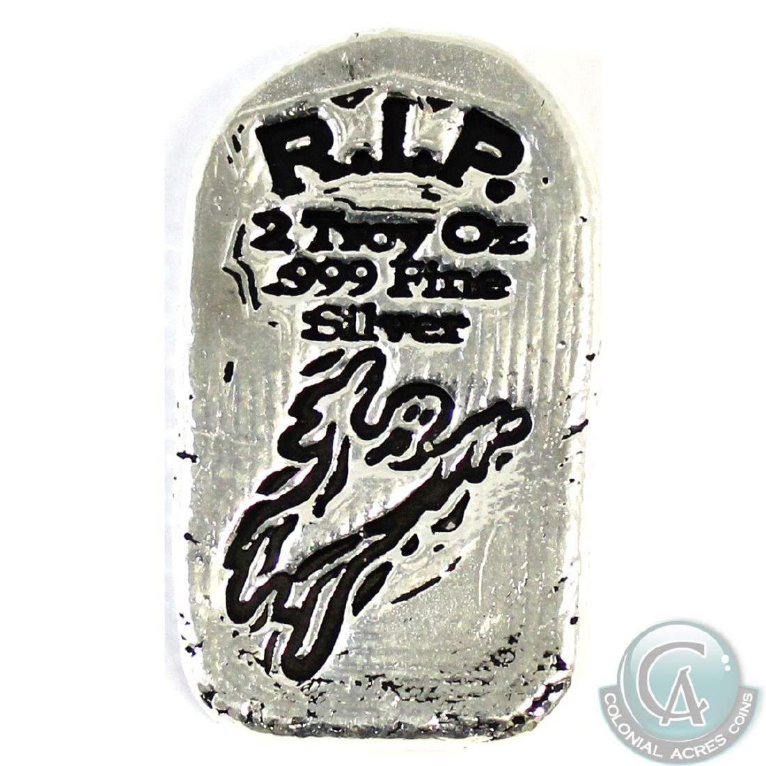 SCARCE! Monarch RIP 2oz Fine Silver Tombstone Bar (TAX