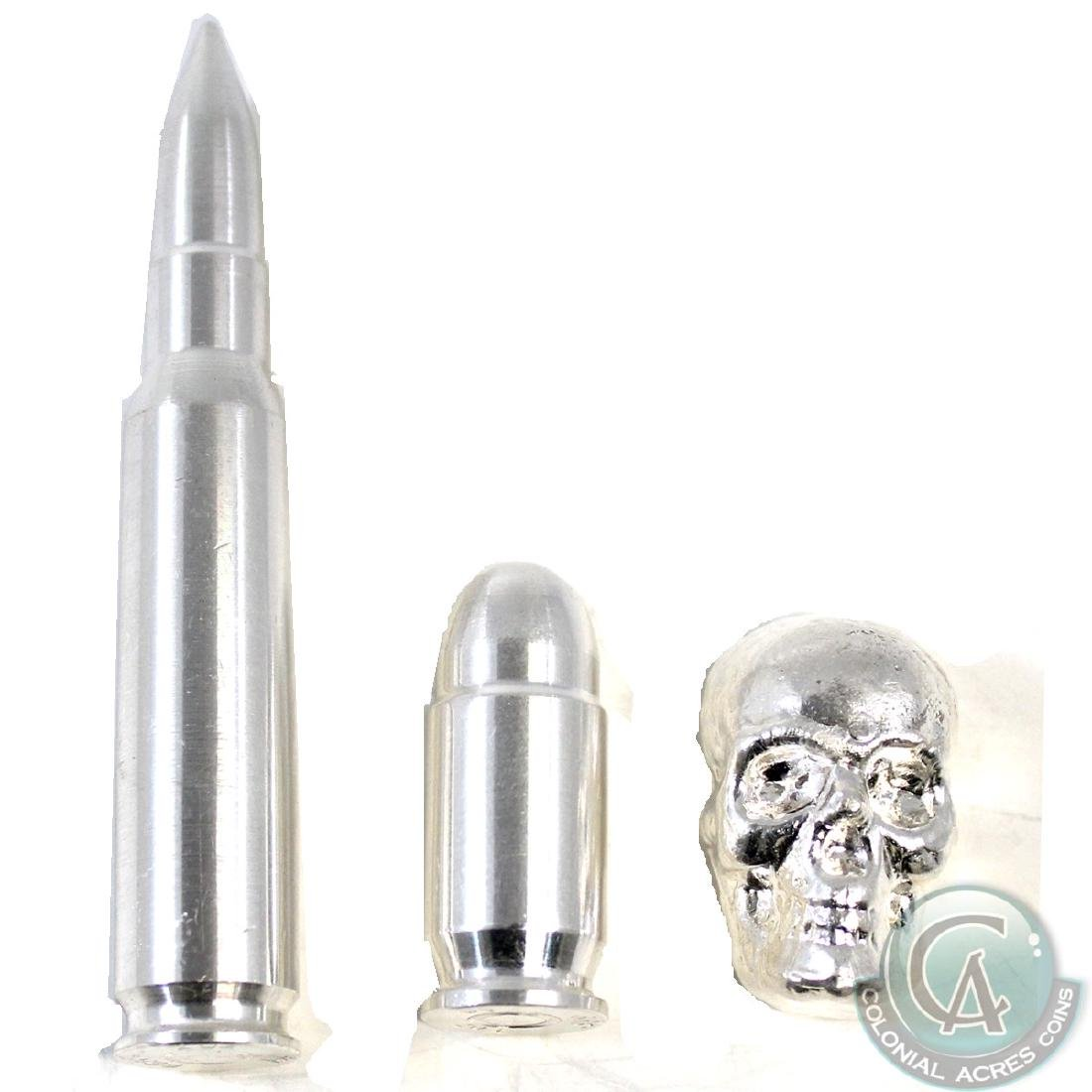 Group Lot of 3x .999 Fine Silver Skull & Bullets - 4oz.