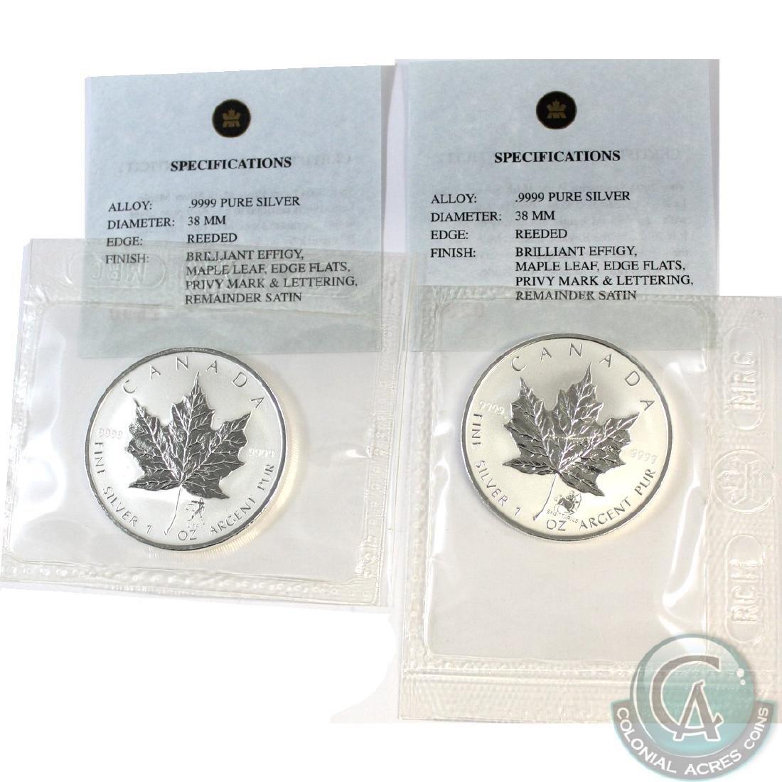 Pair of 2004 Canada $5 Privy Mark 1oz. .999 Fine Silver