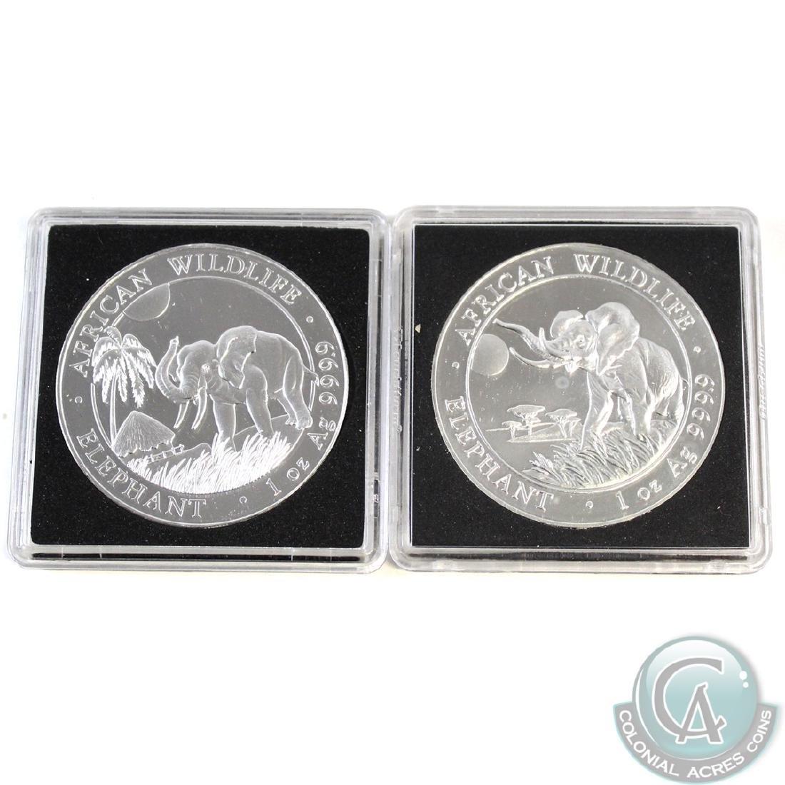 Pair of 2016-2017 Somalia 1oz Fine Silver Elephants