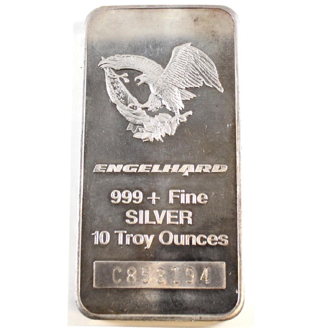 Vintage 1987 Engelhard 10oz Fine Silver Bar 'C Series'