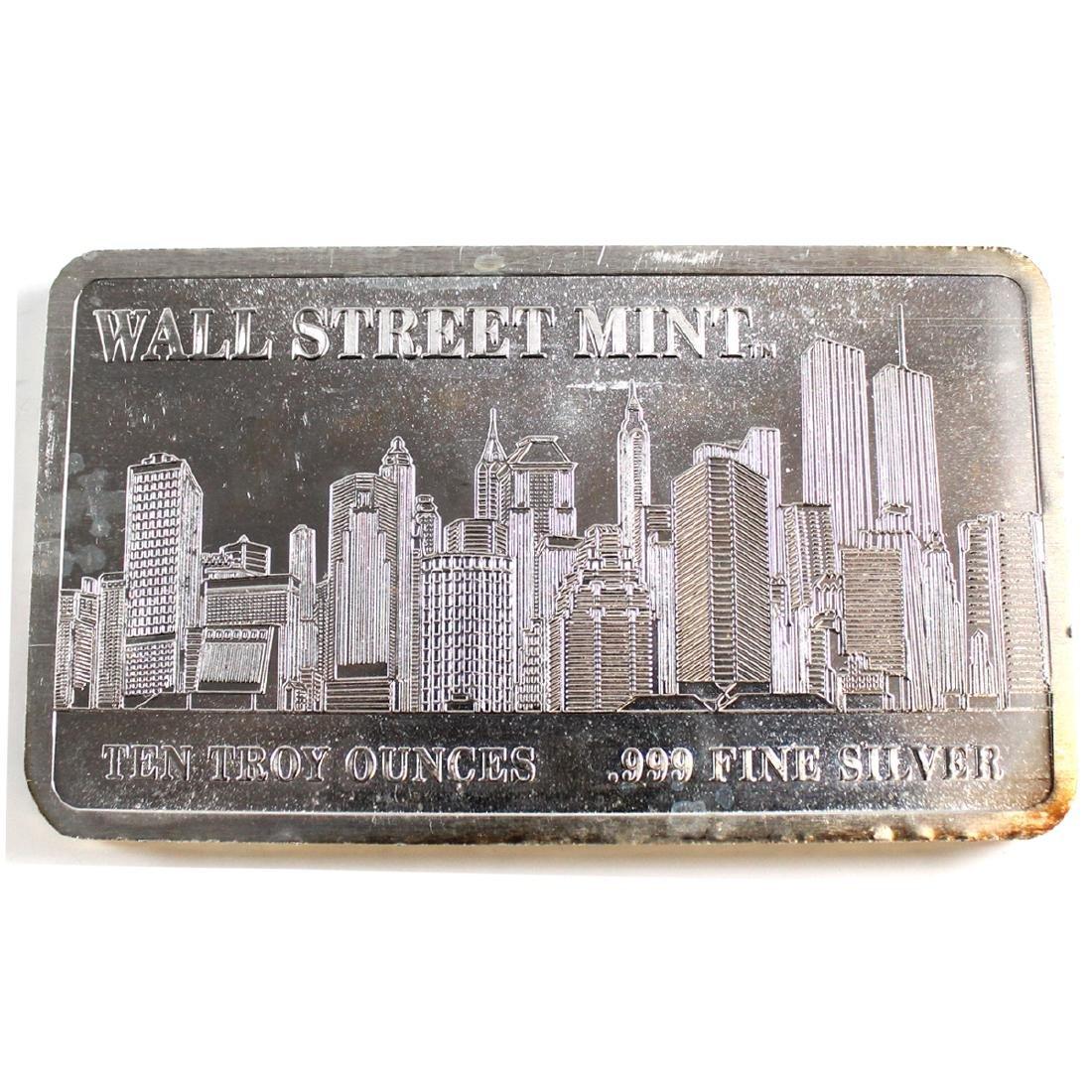 Wall Street Mint 10oz Fine Silver Bar with NYC Skyline