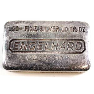 Vintage Engelhard 10oz Fine Silver Bar -11th Series - P