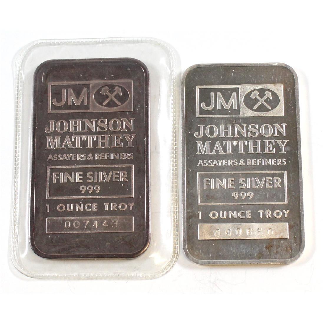Pair of Vintage 1982 Johnson Matthey 1oz Fine Silver