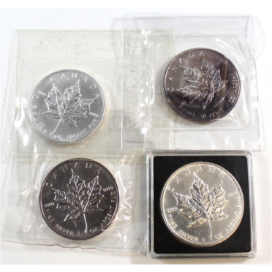 1988, 1989, 1990 & 1991 Canada 1oz .999 Fine Silver