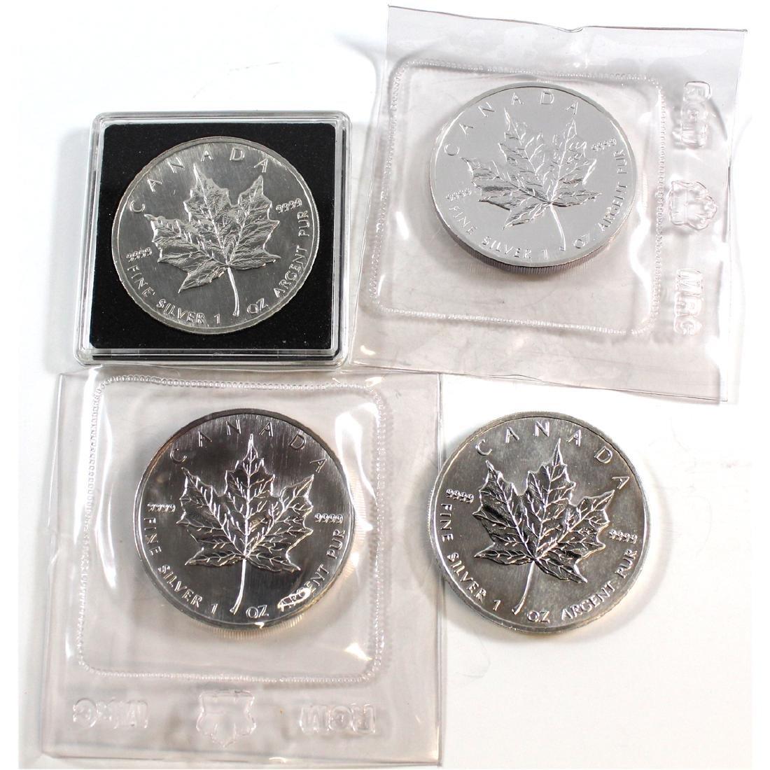 1989 & 1999 Canada 1oz .9999 Fine Silver Maple Leafs