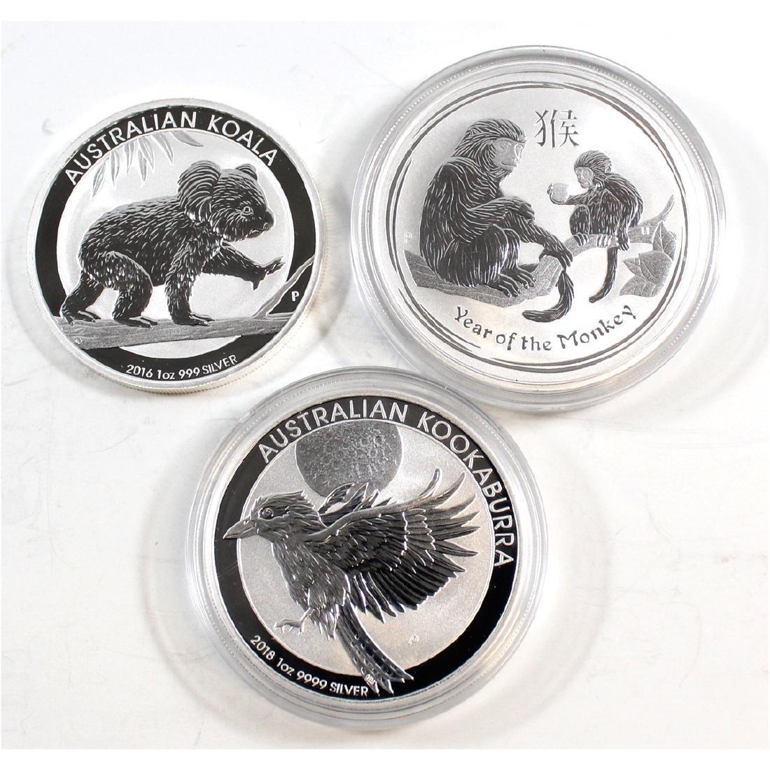 Lot of 3x Australia $1 1oz. .999 Fine Silver Coins -